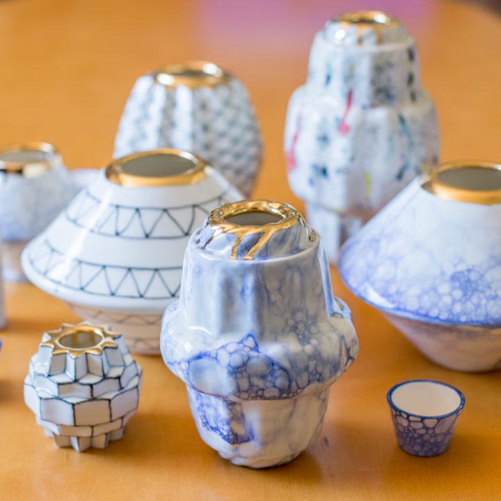 Lia Pileggi blue and gold vessels