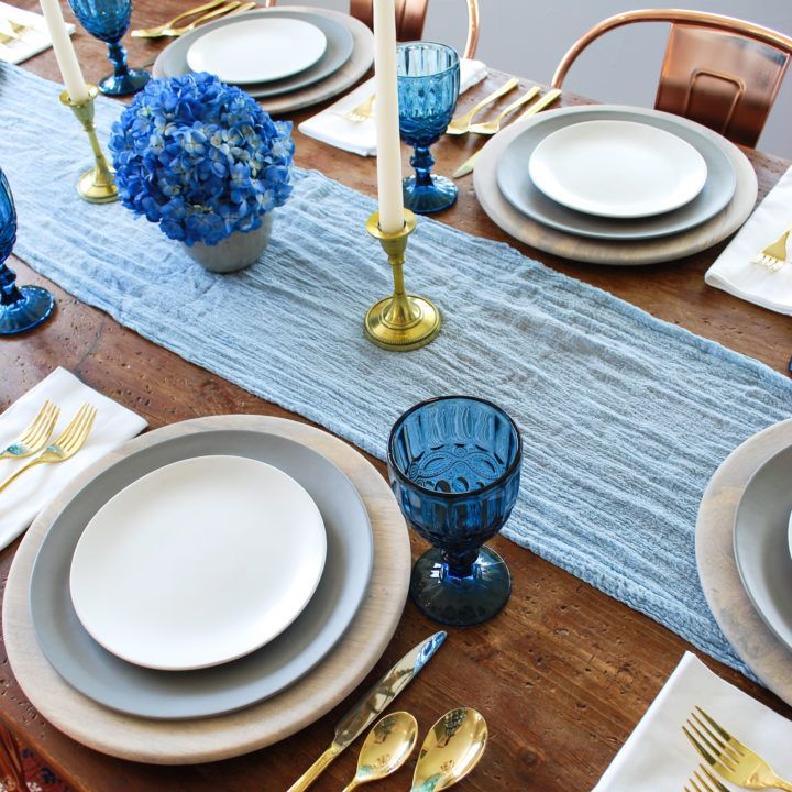 cloth and gold moody blue tablescape