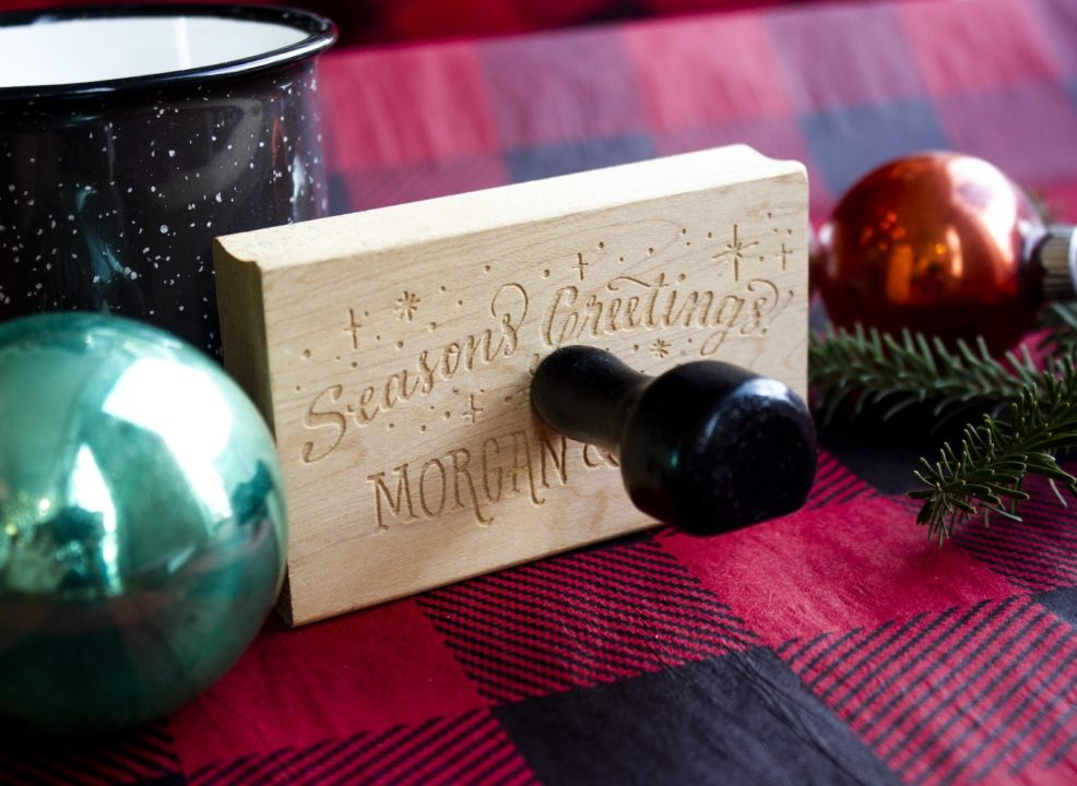 holiday rubber stamp Photo courtesy of Ladyfingers Letterpress