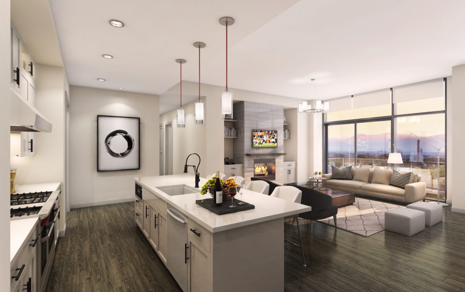 parq on speer penthouse living