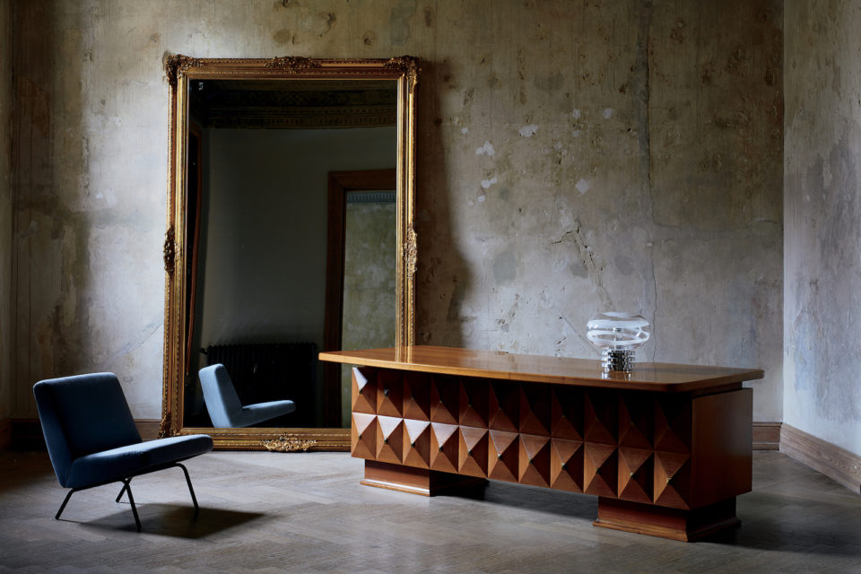 CB2 vintage credenza and chair