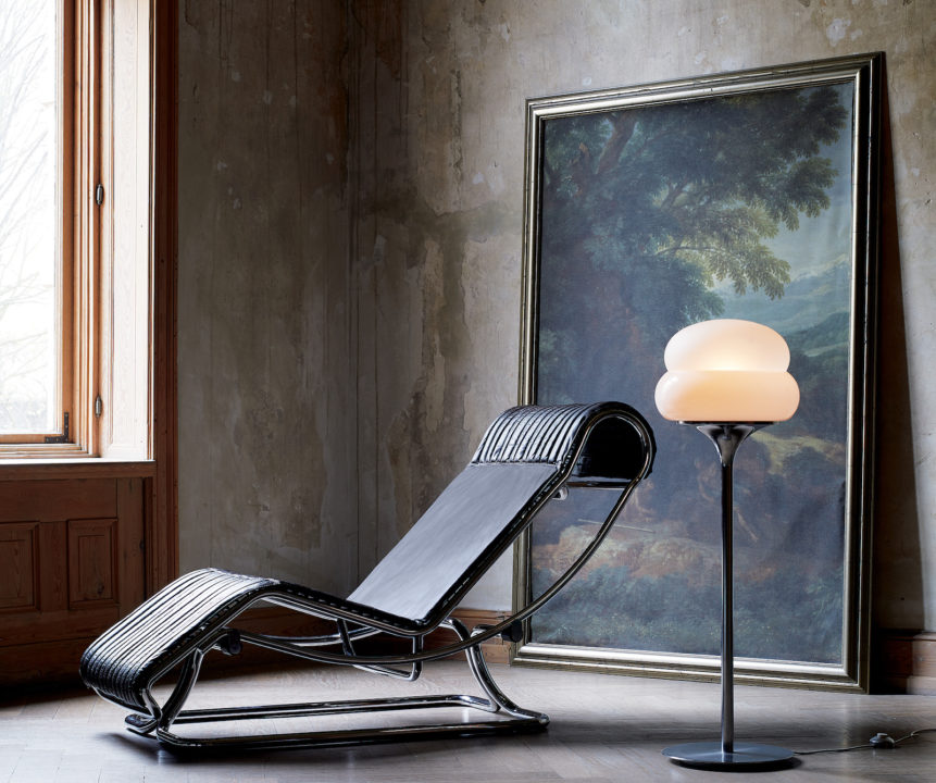 CB2 vintage chaise and lamp