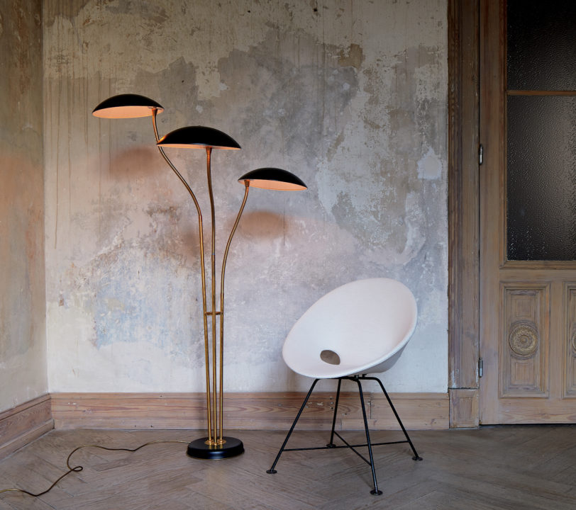 CB2 vintage light and chair