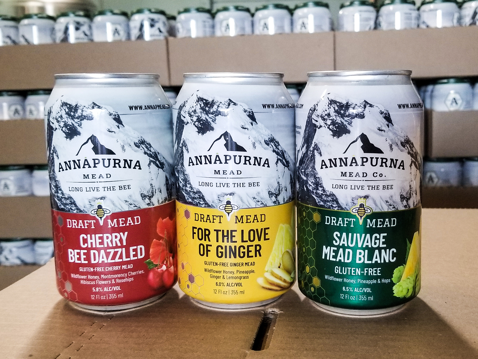 Annapurna Mead Co.'s canned session meads. Photo courtesy of Annapurna Mead Co.