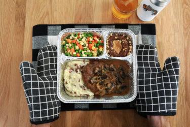 Salisbury Steak TV dinner at Lazy Dog Restaurant and Bar