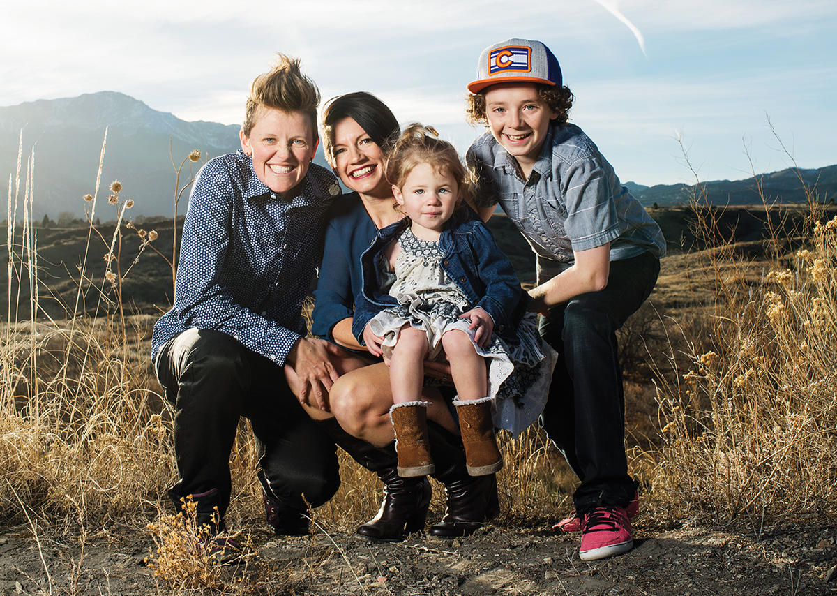 Colorado Springs' residents Sarah Musick (left), Erika Highstead-Musick, and their two children this past winter