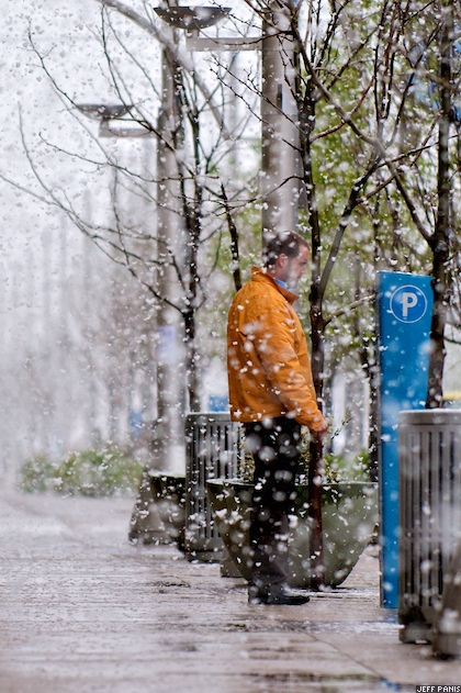 Spring snow falls on Belmar town center.